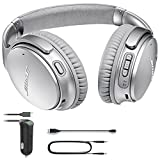 Bose QuietComfort 35 (Series II) Bluetooth Wireless Noise Cancelling Headphones - Silver & Car Charger - Bundle