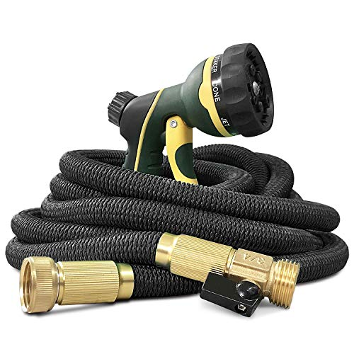 NGreen Garden Hose Flexible and Expandable – Collapsible Water Hose with Solid Brass Fittings and Spray Nozzle, Lightweight Retractable Leakproof Durable Gardening Hose Easy Storage Kink Free(25FT)