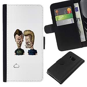 YiPhone /// Tirón de la caja Cartera de cuero con ranuras para tarjetas - Acdc Beavis y Butt - HTC One M7