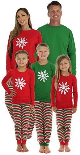 SleepytimePjs Christmas Family Matching Pajamas (FM Stripes-GREEN, 3T) -