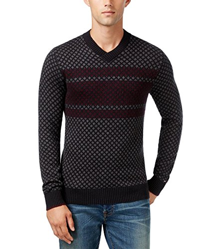 Tommy Hilfiger Mens Chainlink Stripe Long Sleeves V-Neck Sweater Gray XXL Stripe Chain Link