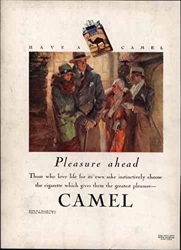 Pleasure Ahead- Love Life Camel Cigarettes Smoking 1929 color Advertisement