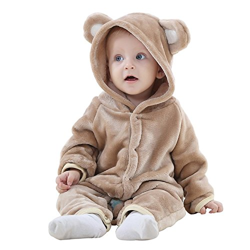 - TSHSUN Baby Girls Boys Toddler Romper Bear Outfit Flannel Style Jumpsuit Autumn & Winter Cosplay Clothes(0-3 Months, Brown)