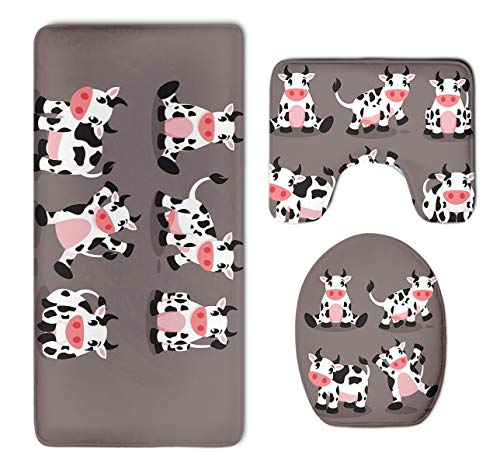 HOMESTORES 3 Piece Bathroom Rug Set - Cute Cartoon Cow Skidproof Toilet Bath Rug Mat U Shape Contour Lid Cover For Shower Spa