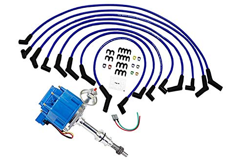 A-Team Performance 65K Coil Complete HEI Distributor, Spark Plug Wires, and Pigtail Harness 3 in 1 Kit - Compatible With Ford 351W WINDSOR 7500 RPM 351W - One Wire Installation Blue ()