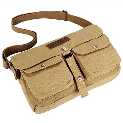 Bolsa de hombro - All4you Unisex lona mensajero Travel Casual escuela bolso en Vintage Style(Beige) Beige