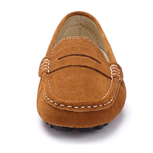 Moccasins Women's Boat Shoes Casual Slip Suede On Penny Flats Loafers Driving Leather Brown SUNROLAN Light ZwXnUxSFqF