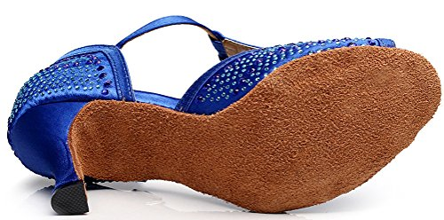 Abby Scarpe Da Ballo Latino Tango T-bar Con Strass In Punta Di Raso Color Blu