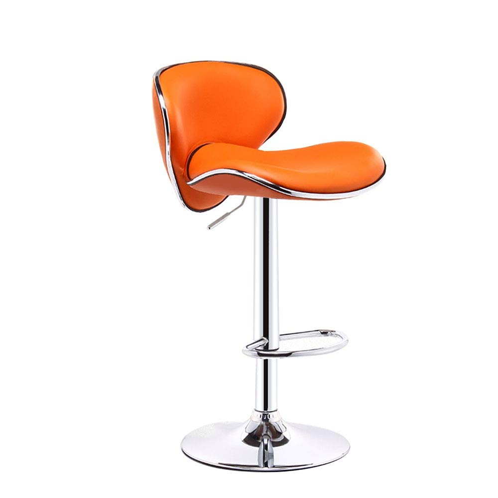 orange Bar Stools 360° Swivel Bar Chairs Adjustable Tall Chairs with Backrest Footrest Breakfast Stools for Kitchen, Counter (color Optional) (color   Red)