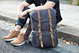 EverVanz Outdoor Canvas Leather Backpack, Travel