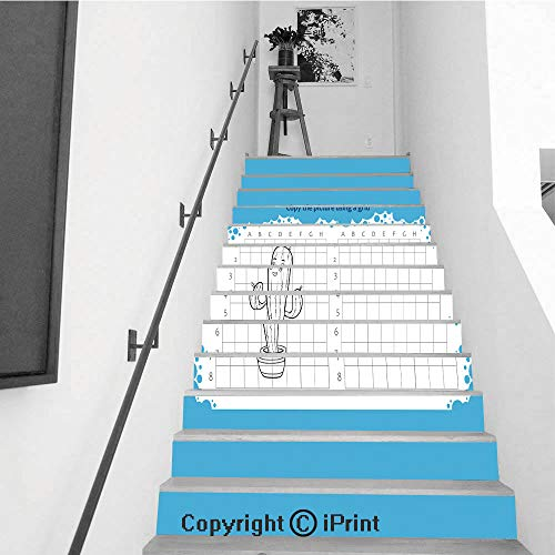 13Pcs Stair Sticker Decals 3D Creative Building Stair Risers Tiles Wallpaper Mural Self-adhesive,Copy the picture using a grid Educational game for children How to draw cute cartoon -