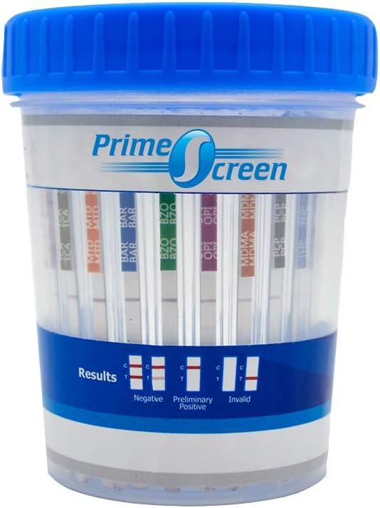 Prime Screen Urine Drug Test Compact Cup 16 Panel Kit (AMP,BAR,BUP,BZO,COC,mAMP,MDMA,MOP/OPI,MTD,OXY,PCP,THC, ETG, FTY, TRA, K2) -[10 Pack]-CDOA-9165EFTK