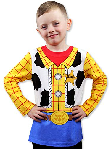 - Toy Story 4 Sheriff Woody Boys Girls Baby Toddler Long Sleeve T-Shirt Tee (2T, Blue/Yellow)