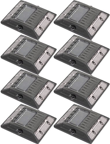 White Commercial Grade Aluminum Alloy Solar Road Stud Path Deck Dock LED Light (8 Pack)