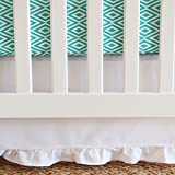 Oliver B Pure Crib Skirt with Gathered Trim, White