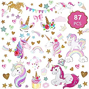Unicorn Wall Decal, 3Sheets 2Styles 87pcs Unicorn Wall Stickers Wall Decals for Girls Room Kids Rooms Decor …