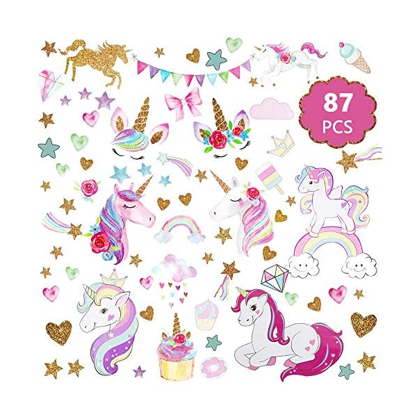 Unicorn Wall Decal, 3Sheets 2Styles 87pcs Unicorn Wall Stickers Wall Decals for Girls Room Kids Rooms Decor … 2