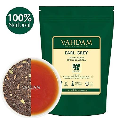 VAHDAM, Earl Grey Masala Chai Tea (50 Cups) | 100% NATURAL SPICES | Black Tea With Bergamot Oil | Spiced Chai Tea Loose Leaf | Earl Grey Tea | Brew Hot Tea, Iced Tea or Chai Latte | 3.53oz