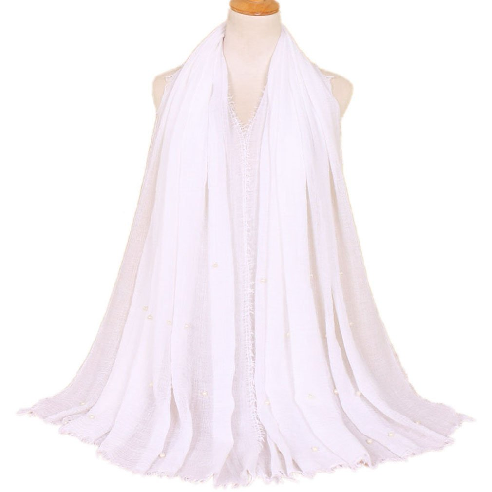 LMVERNA Women Maxi Scarf Cotton Hijab muslim pleated scarves pearls fashion long wrap scarf (White)