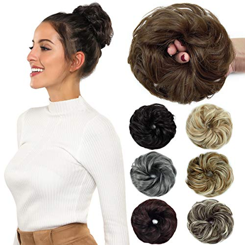ROSEBUD Hair Bun Extensions Messy Donut Synthetic Chignon Hairpiece Easy Bun Hair Pieces for Women Hair Updos (Rose Extensions)