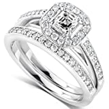 5/8 Carat TW Asscher Diamond Engagement Ring and Wedding Band Set 14k White Gold - Size 6