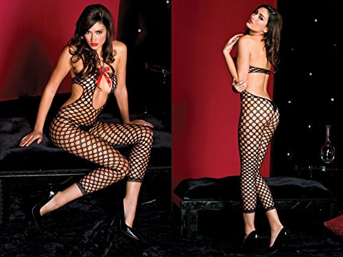 Tie Bodystocking Halter (Music Legs seamless pothole open front tie string halter neck footless body stocking 88% nylon 12% spandex As Shown ONESIZE)