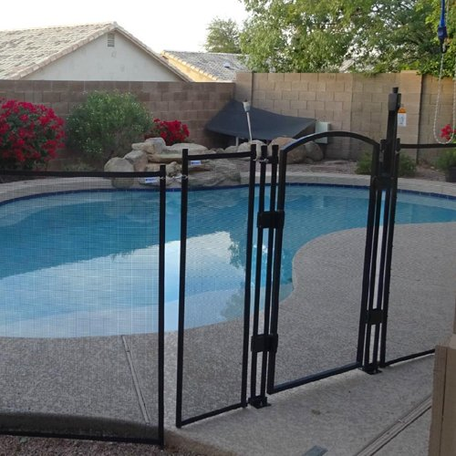 Sentry Safety DIY Pool Fence by EZ-Guard 4' 12' Long Removable Child Barrier Pool Safety Mesh Fence (Black) 4' Ground Sleeve