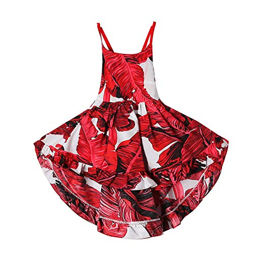 Girls' 2T-12 Cotton Floral Dress Summer Backless Casual Sundress (3T, Red)