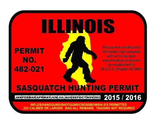 Illinois Sasquatch Hunting Permit License Bigfoot Vinyl Sticker Decal