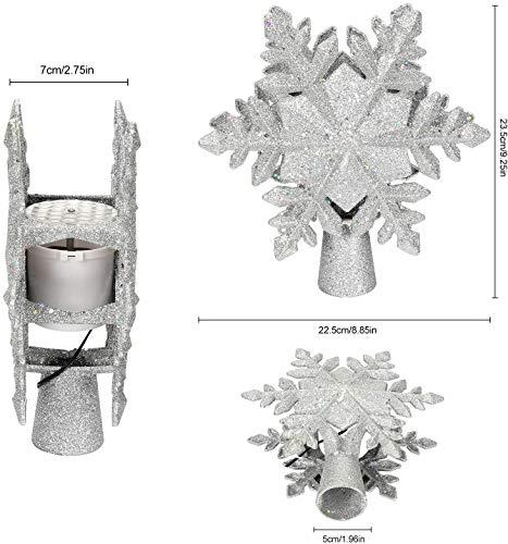 lluminazione di Natale 3D Hollow Stella di Natale Puntale dell'albero di Natale Fiocco di Neve luci del proiettore a LED per Natale Decorazione dell'albero di Natale Home Decor Partito (Argento) 6 spesavip