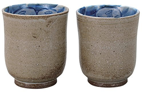 Sazanka Kutani yaki 3.1inch Set of 2 Japanese Tea Cups Grey Ceramic by Watou.asia