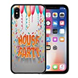 lovely cozy small apartment design Emvency Phone Case for Apple iPhone Xs Case/iPhone X Case,Orange Address House Party 3D Words Balloons and Confetti Soft Rubber Border Decorative, Black