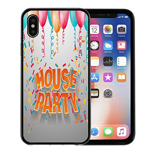 Emvency Phone Case for Apple iPhone Xs Case/iPhone X Case,Orange Address House Party 3D Words Balloons and Confetti Soft Rubber Border Decorative, Black