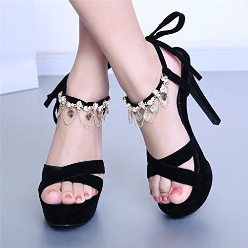 Tama La Tacones Parte Negro Primavera Verano UK4 con o Abierta CN37 5 Color Finos Mujer De Superior Esmerilada EU37 Vendaje Punta Tacones Sandalias 5 Negro Zapatos x7qHpnpw0t