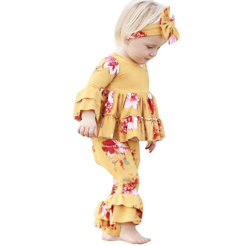 Pants Hair Strap Set Toddler Baby Girls Flower Pants Headband XUANOU Childrens Long Sleeve Floral Print Trumpet Top