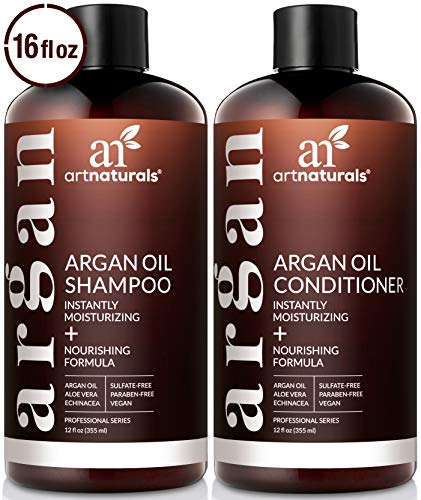 ArtNaturals Organic Moroccan Argan Oil Shampoo and Conditioner Set - (2 x 12 Fl Oz / 355ml) - Sulfate Free - Volumizing & Moisturizing - Gentle on Curly & Color Treated Hair - Infused with Keratin (Moisturizing Shampoo And Conditioner For Natural Hair)