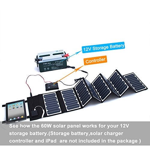 KINGSOLAR™ Highest Efficient 60W Foldable Solar Panel Portable Solar Charger Dual Output (USB Port + DC Output) by KINGSOLAR™ (Image #6)