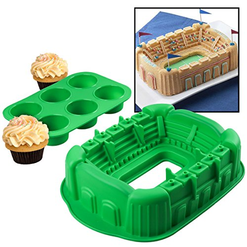 Baking Set Dessert Silicone Sports Cupcake Pan and Cake Mold Stadium Arena Kitchen DIS-16-17 2-Piece, Green (Football Shaped Pan compare prices)