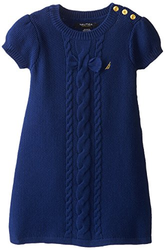 Nautica Little Girls' Solid Sweater Dress with Bow and Cable Detail and Gold Button Shoulder Placket, Medium Navy, 2T