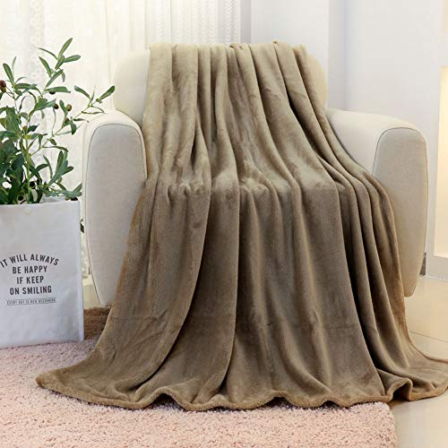 FY FIBER HOUSE All Seasons Lightweight Throw Blanket, Microfiber Cozy Blanket for Couch,50 by 60-Inch,Khaki