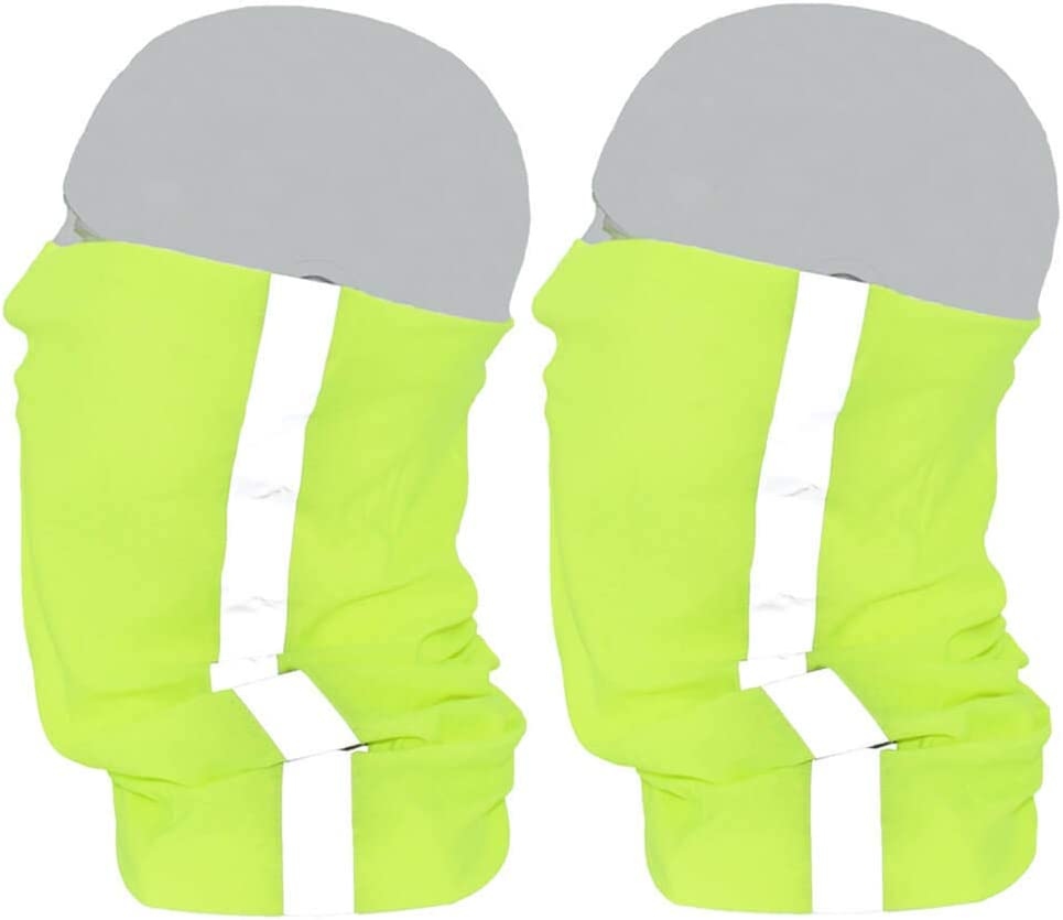Jhywell Reflective Safety Face Mask Shield High Visibility Neck Gaiter Lime Neon Cooling Fishing Bandana for Men and Women