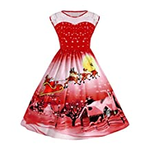 Sunny Fashion Girls Dress, COOL99 Women Christmas Print Lace Pin Up Swing Lace Party Panel Plus Size Dress (Red, XXXXX-Large)