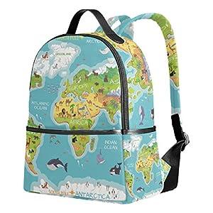 Ahomy – Mochila de Viaje con diseño de Mapa del Mundo, diseño de Flora del océano