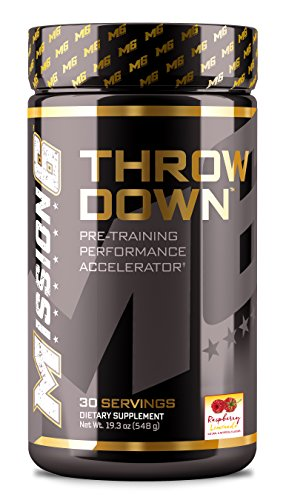 Pre Training (Mission 6 THROWDOWN Caffeine FREE Raspberry Lemonade | Pre Training Performance Accelerator | 30 Servings)