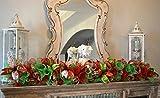 mantel christmas decorations Christmas Garland | Staircase Garland | Mesh Mantel Garland Decor; Red Lime Green White