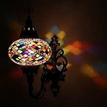 Multicolor Handmade Moroccan Turkish Ottoman Style Mosaic Wall Sconce Lamp with Large Size Globe