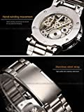 ALPS Mens Classic Skeleton Stainless Steel Mechnical Watch with Link Bracelet (WhiteGold)