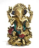 Rare God Ganesha Statue Sitting on Lotus- Hindu Lord of Prosperity & Fortune Ganesh Figurine- Brass Metal with Turquoise India Handmade Elephant God Idol