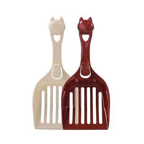 POPETPOP 2 cucharas de Arena para Gatos, tamiz con Pala Profunda, Soporte Libre,