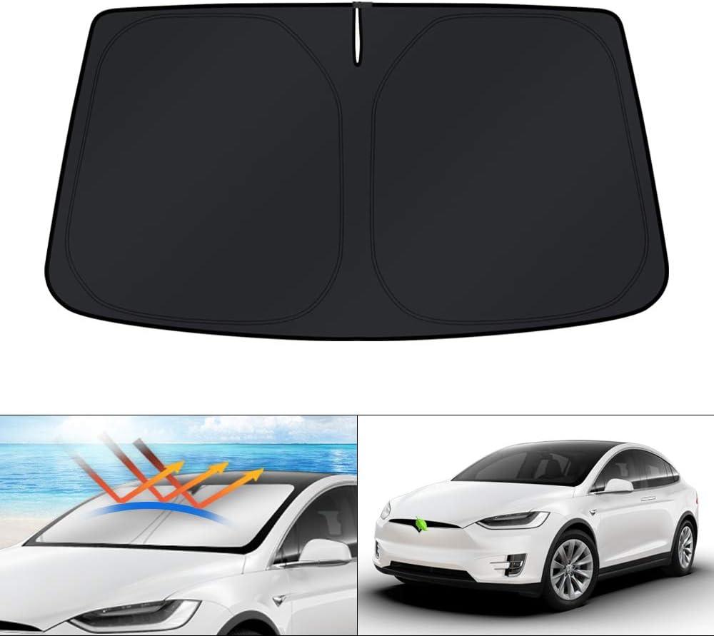 KUST Windshield Sun Shade Blocks UV Rays Sun Visor Protector Foldable Sunshade for Tesla Model X SUV 2016-2020 Keep Your Car Cooler